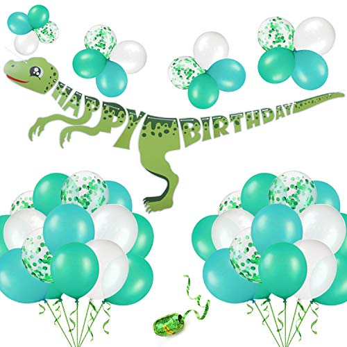 52PCS Dinosaur Birthday Party Decoration Kit: 1 Dinosaur Happy Birthday Banner, 50 Green & White & Confetti Balloons, 1 Roll of Laser Green string - Party Supplies Favors For Baby Shower Boys Girls Dino Jungle Jurassic Dinosaur Birthday