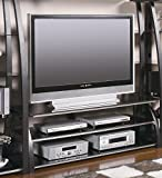 Coaster Home Furnishings Contemporary Media Tower, Black and Silver