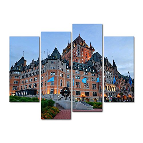 Wall Art Decor Poster Painting On Canvas Print Pictures 4 Pieces Chateau Frontenac at Dusk in Quebec City Architecture Cityscape Framed Picture for Home Decoration Living Room Artwork