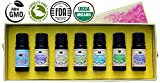 [Upgraded] Authentic 100% Pure Organic Therapeutic Essential Oil Aromatherapy Starter Set by Essens Oils - Now with BONUS Stress Relief Blend, eBook, Dilution Chart Card, and Getting Started Guide