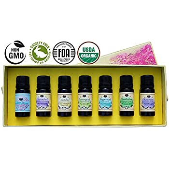 USDA Certified Organic Therapeutic Essential Oil 100% Pure Aromatherapy Kit Starter Set - With BONUS Stress Relief Blend, Recipe eBook, Safe Dilution Chart Card, and Getting Started Guide
