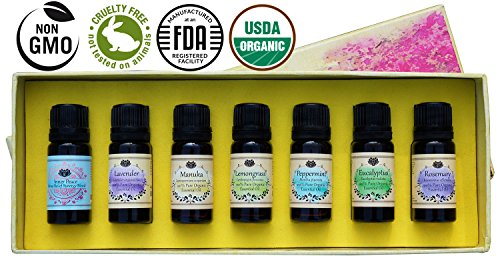 USDA Organic Essential Oils Set - Certified 100% Pure Aromatherapy Starter Kit - With BONUS Stress Relief Blend, Recipe eBook, Safe Dilution Chart Card, and Getting Started Guide …