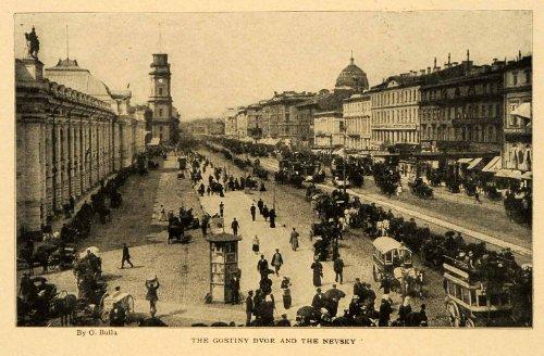 1903 Print Gostiny Dvor Nevsky Bulla Petersburg Russia Avenue Shopping Center - Original Halftone - In Petersburg St Shopping