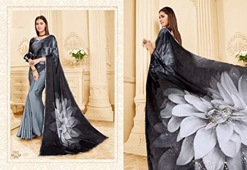 Designer Floreale Stampato Swarovski Lavoro indiano Bollywood Saree Casual Wear Party Festive Donne Sari Camicetta 9587