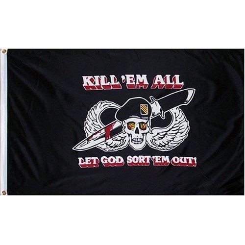 Kill Em All Let God Sort Em Out Flag Military 3' x 5'