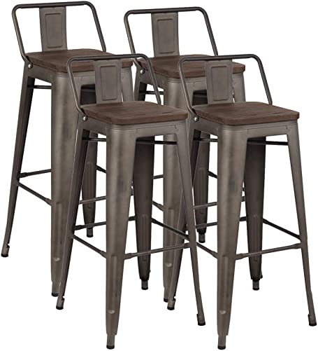 ZHENGHAO Industrial Metal Bar Stools Set of 4, 30 Bar Height Barstool Chair with Low Back, Wooden Seat Dark Walnut