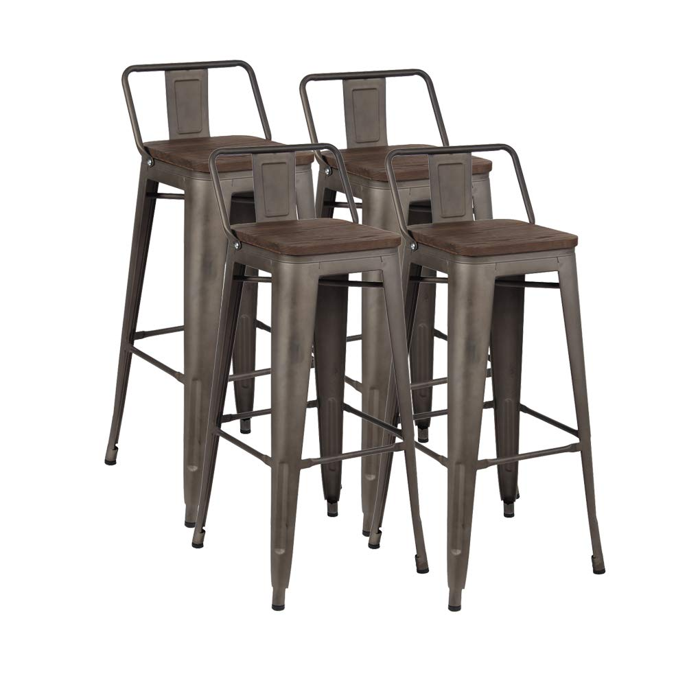 30 Industrial Metal Bar Stools Set, Indoor-Outdoor Barstool Chair with Low Back, Set of 4, Dark Walnut