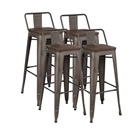 30 Industrial Metal Bar Stools Set, Counter Height Indoor-Outdoor Barstool Chair with Low Back, Set of 4, Dark Walnut