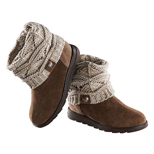 Muk Luks Women's Patti Cable Cuff Boot, Ivory, 10 M US