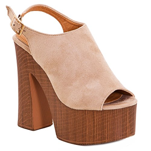 Beige scamosciati donna alti Scarpe sandali sabot DF3396 nuovi comodi tacchi plateau Toocool 6pwqPtx