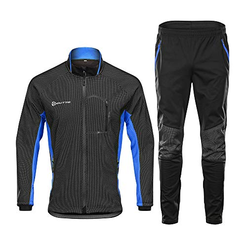 d.Stil Herren Fahrradbekleidung Set Langarm Fleece UV- Schutz Radjacke + Fahrradhose M - 3XL