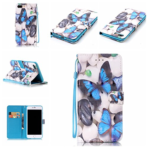 iPhone 7 Plus Case,iPhone 8 Plus Case,Firefish [3D Printing] PU Leather Flip Folio Kickstand Wallet Case with Card Slots and Magnetic Closure Wrist Strap for Apple iPhone 7 Plus-Blue Butterfly