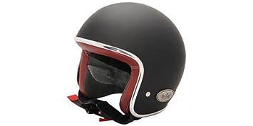 Casco Jet para moto, scooter, estilo Vintage con interior de piel y casquete barnizado