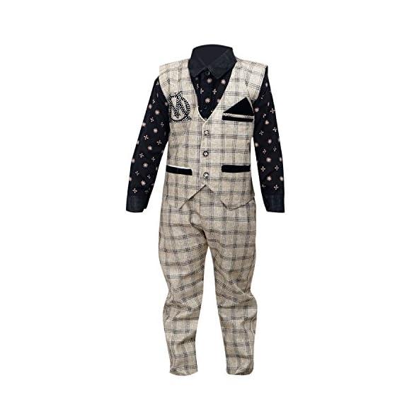 ahhaaaa Boy's Cotton Waistcoat, Shirt And Trouser Set