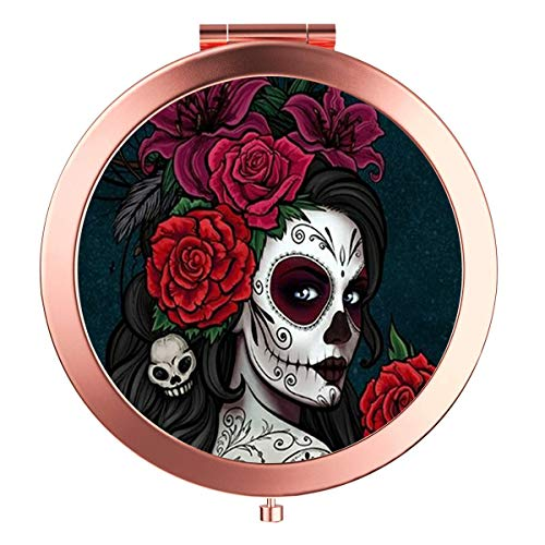 Rose Gold Travel Purse Mirror Compact Double Sides 2x & 1x Magnification Hand Mirror Metal Round Bohemian Mirror for Women and Girls-Sugar Skull]()