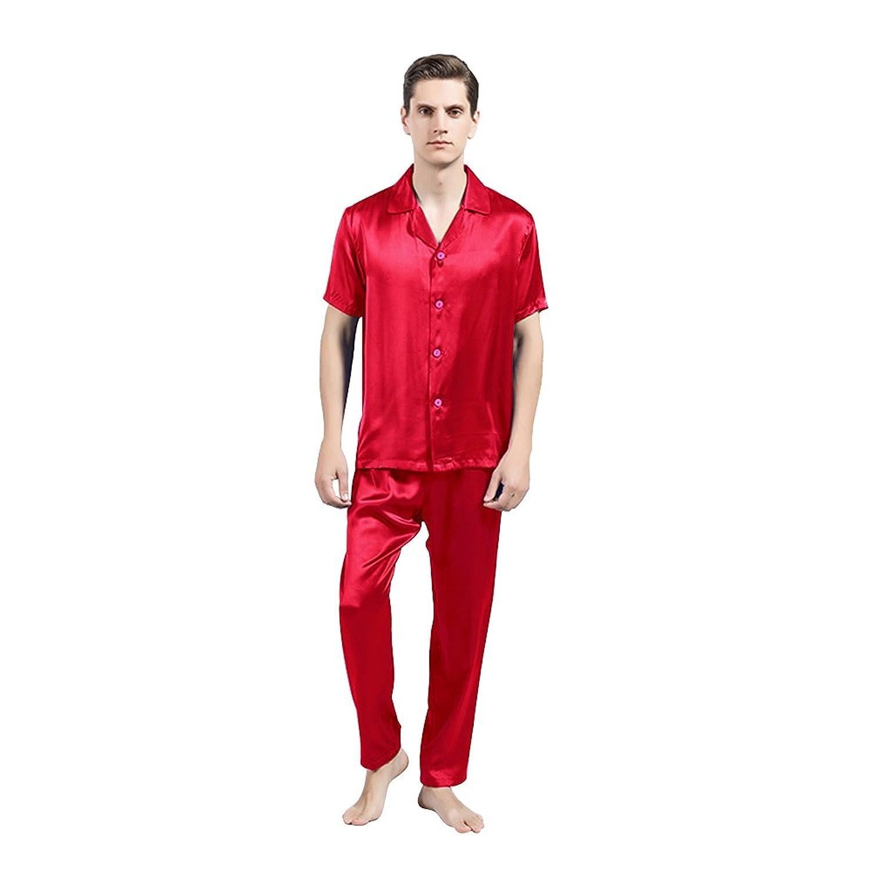 LULUSILK Herren 22 Momme Seide Nachthemd Nachtwäsche Kurzarm Pyjama Set