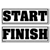 "Race Banner - 4' x 12' ''Start"" and ''Finish'' - Black Vinyl Banner Set of 2, with Grommets for Hanging"