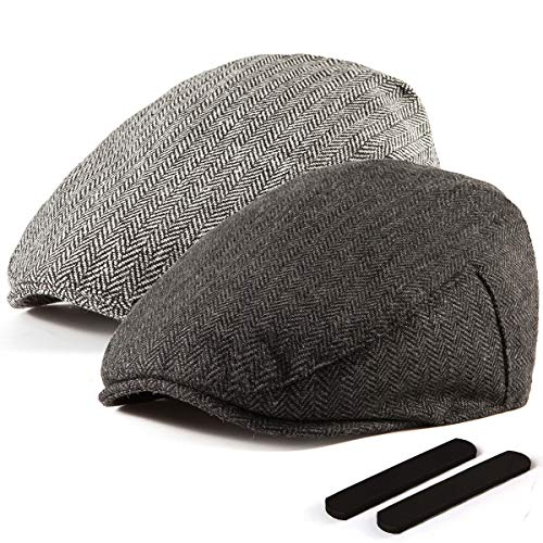 LADYBRO Black+Grey Tweed Flat Cap - Wool Hat for Men Newsboy Cap Ivy Hat Large 2 Pack