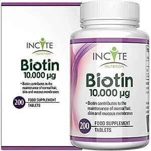 Vitaminas para el Crecimiento del Cabello con Biotina 10,000MCG para 6 meses + Suministro de 200 tabletas de 6mm, el mejor suplemento para la caída ...