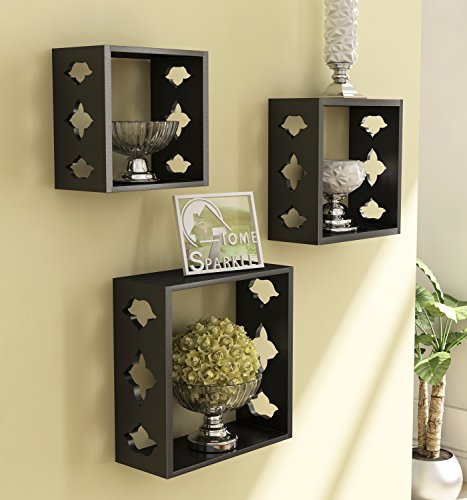 Home Sparkle Wooden Wall Shelf | Cube Design Wall Mounted Shelves for Living Room  Black
