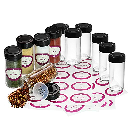 Case of 24 Glass Spice Jars with 4oz Capacity Including 120 Unique Water-resistant Spice Labels - For Storing and Dispensing Spices, Herbs FOOD GRADE GLASS - Spice Jars for Spice Organization, Cooking