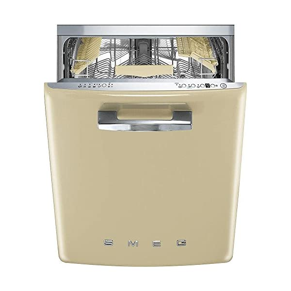 "Smeg 24"" 50s Retro Style Fully Integrated Dishwasher with 13 Place Settings Full Size Tub 10 Wash Cycles Panel Ready, Cream 1"