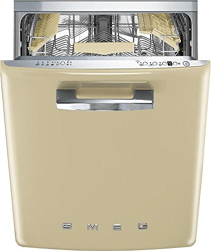 Smeg 24″ 50s Retro Style Fully Integrated Dishwasher with 13 Place Settings Full Size Tub 10 Wash Cycles, Cream