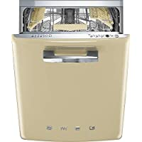 Smeg 24 50s Retro Style Fully Integrated Dishwasher with 13 Place Settings Full Size Tub 10 Wash Cycles, Cream