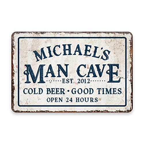 (Personalized Vintage Distressed Look Man Cave Cold Beer Good Times Metal Room Sign)