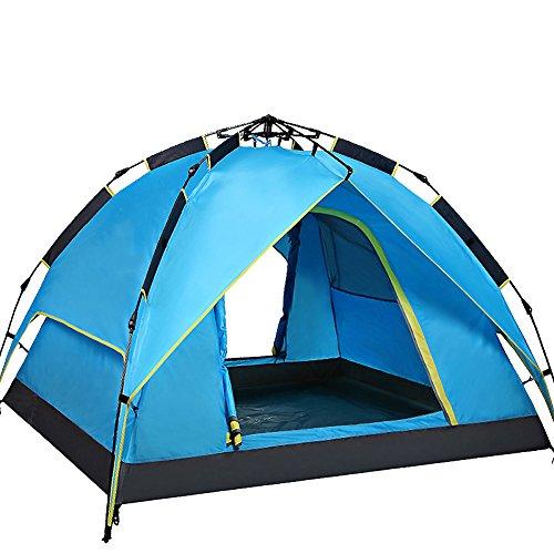調整する北極圏クール完全な自動キャンプ テント,3 ~ 4 名 屋外テント 防雨の肥厚 キャンプテント 通風孔の大きな ポータブル 二重層 グラス 家族のテント