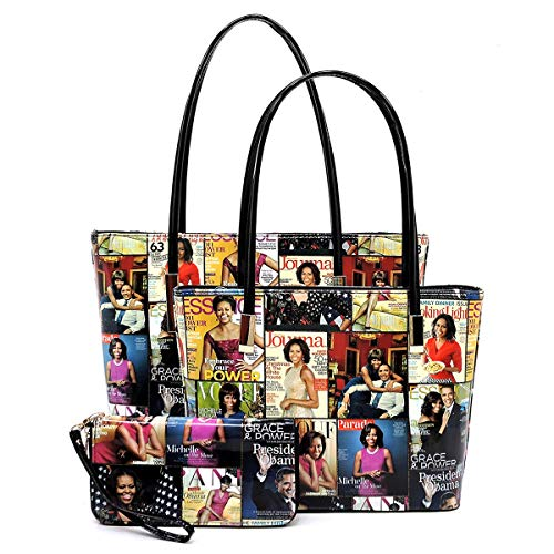 Glossy magazine cover collage Michelle Obama printed two stand alone tote bags and one matching wallet 3pcs set, 3 in 1 (Pic#A-MTBK)