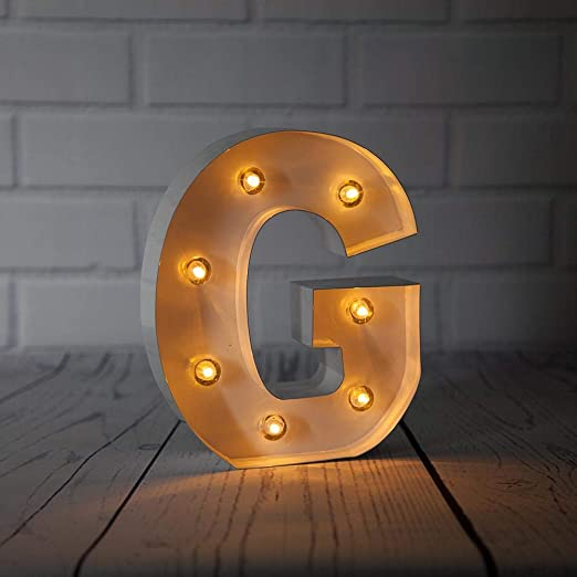 White Marquee Light Number /'5/' LED Metal Sign 8 Inch, Battery Operated