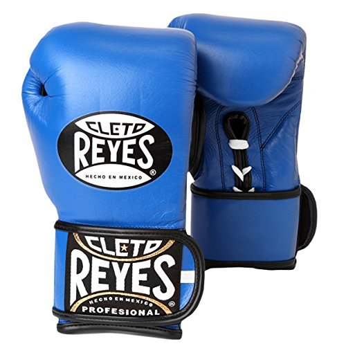 Cleto Reyes Lace Up Hook and Loop Hybrid Boxing Gloves (Blue, X-SMALL)