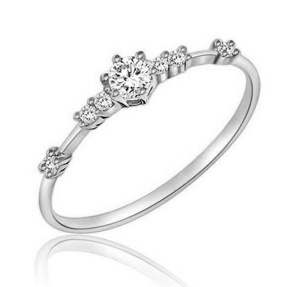 Ring, Hoshell Women Fashion Eternity Thin Rings Plating Wedding Jewellery Gift Elegant Ring (10, S❀ ilver) S❀ ilver)