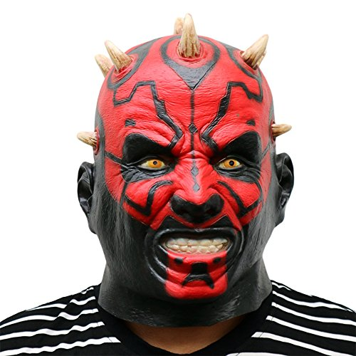 MostaShow Star Wars Darth Maul Adult Full Latex Masks Cosplay Halloween Costumes Masquerade Masks for $<!--$16.90-->