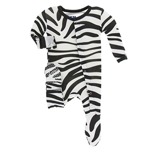 (Kickee Pants Little Girls and Boys Print Footie with Snaps - Natural Zebra Print, Newborn)