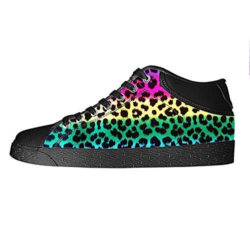 Custom Stampa leopardo Womens Canvas shoes I lacci delle scarpe scarpe scarpe da ginnastica Alto tetto