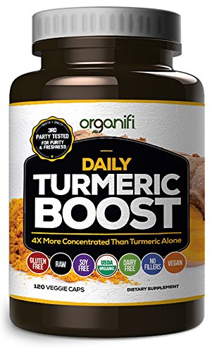 Daily Turmeric Boost - Turmeric Super Food Supplement (2000mg) 30 Day Supply. USDA Raw Organic Vegan Turmeric Veggie Capsules (120 Count) by Organifi (Raw Freeze Dried Turmeric compare prices)