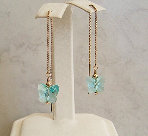 Blue Butterfly Crystal Gold Fill Threader Earrings Simulated Turquoise December Birthday Gift Idea