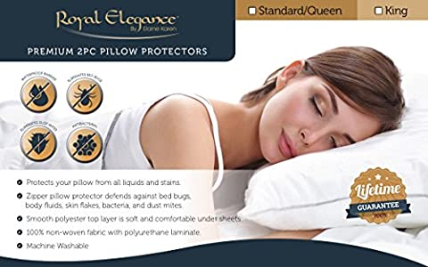 Royal Elegance Waterproof BED BUG Pillow Protector - Hypoallergenic – – 2pc Pillowcases Set (Bedbug Pillowcase)