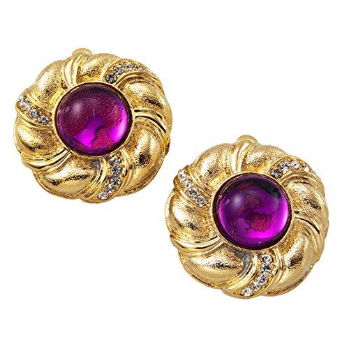 Vintage Button Gold Tone Purple Jewel Rhinestone Big Clip On Earrings USA Made Earrings For Women Set