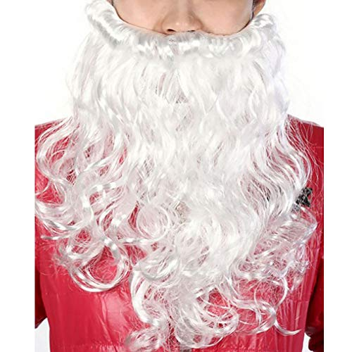 Christmas Santa Claus Suit, Adult Luxury Plush Long-Sleeved Santa Claus Couple Fancy Dress Costume Outfit for Christmas Party(Beard)