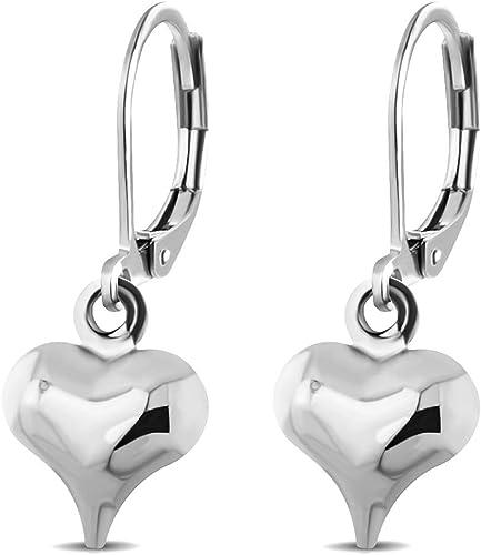 Stainless Steel Heart Shape Women/'s Girl/'s Charm Shining Ear Studs Earrings Gift