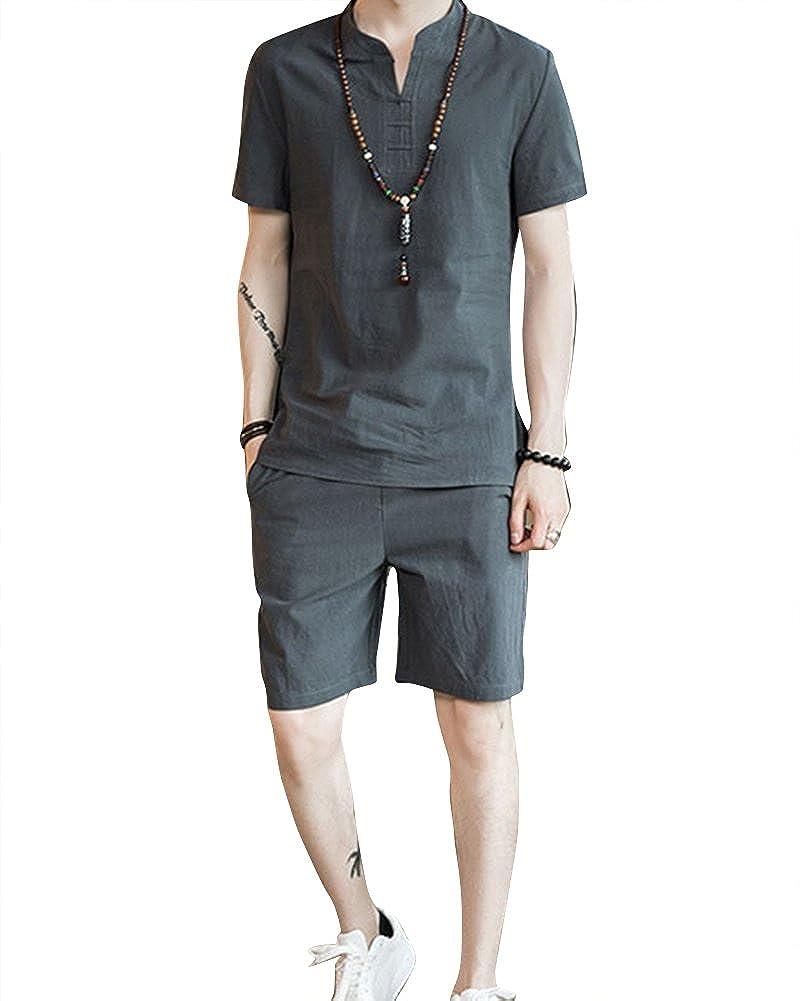 Hombre Lino Casual Tallas Grandes Camiseta + Pantalones Cortos 2 ...