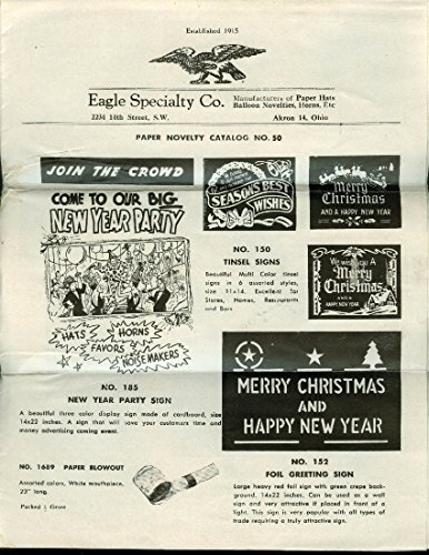 Eagle Specialty Paper Novelty Catalog #50 1950s Akron -