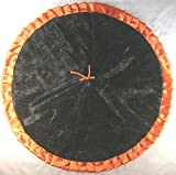 Halloween Tree Skirt, 47'' Black Flocked Webs with Orange Sequins