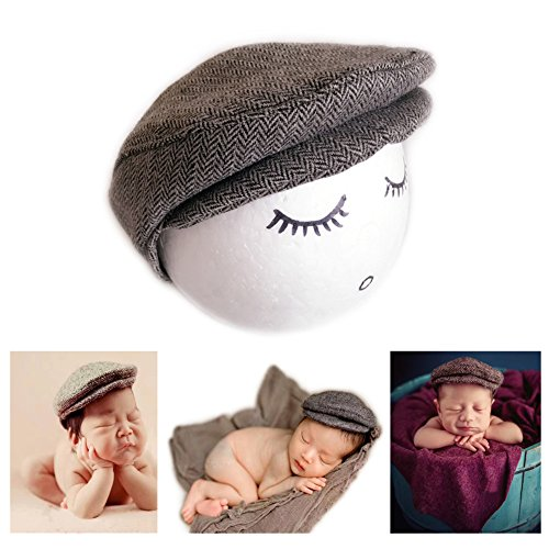 Hat Photo (Fashion Newborn Boy Girl Costume Outfits Baby Photo Props Hat Gentleman Cap (Grey))