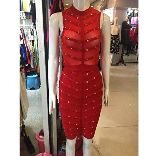 HLBCBG rayón de la mujer vendaje Bodycon vestido de cóctel vestido de fiesta 2354 Rosso