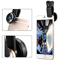 Efanr Universal Clip-on 235 Degree Detachable Fisheye Lens Super More Advanced Camera Photo Kits for Apple iPhone 6 Plus/6/5/5S/5C/4/4S, iPad Air 2/1, iPad 4/3/2, iPad Mini 3/2/1, Samsung Galaxy S6/S5/S4/S3, Galaxy Note 4/3/2/Edge, Tab 4 3 2 Pro, Sony Xperia Z3, HTC One, One 2 (M8) LG G3, Huawei, Google Nexus 4 5 7 10, One Plus One Other Smart Phones