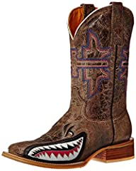 Tin Haul Ladies Man Eater Square Toe Boots These boots feature Maneater sole, brown crackle vamp with shark underlay and brown crackle shaft with multi-color anvil embroidery. Handmade Boot. Double welt, walking heel, cushioned insole, square...